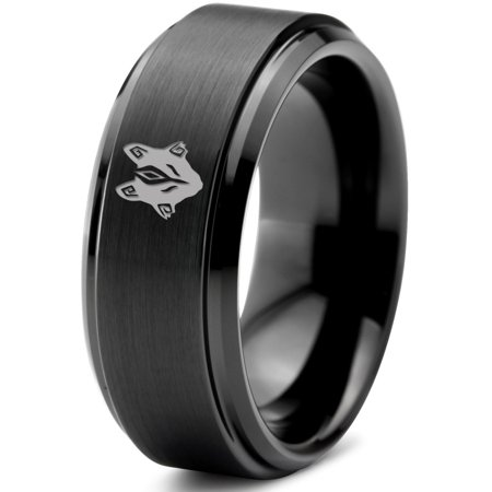 Tungsten Tribal Wolf Band Ring Band Ring 8mm Men Women Comfort Fit Black Step Bevel Edge Brushed Polished