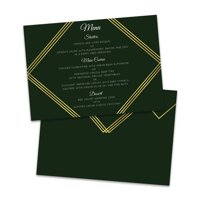 Personalized Green & Gold Wedding Menu Card