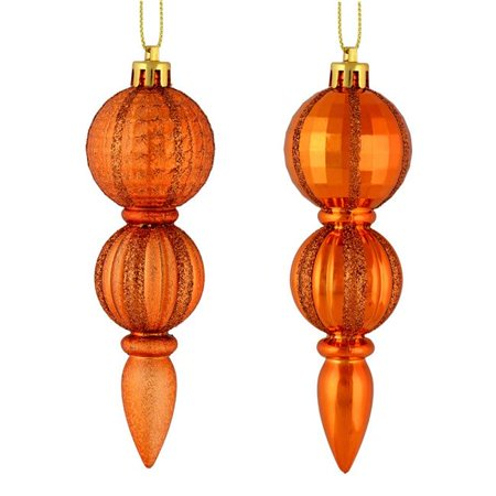 Vickerman M183618 5 in. Burnish Orange Glitter Assorted Finial Ornament, 6 per Box - Pack of 18 - image 1 of 1
