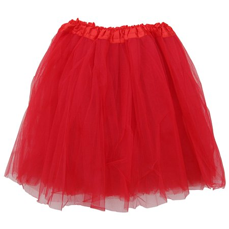 Teen Halloween Outfits (Plus Size Red Adult Size 3-Layer Tulle Tutu Skirt - Princess Halloween Costume, Ballet Dress, Party Outfit, Warrior Dash/ 5K)