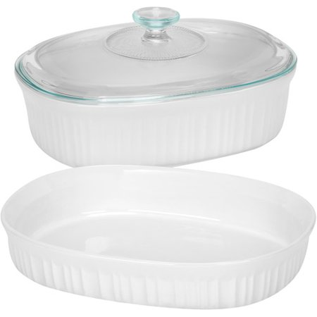 Corningware French White 3 Piece Bake Serve Set With Glass