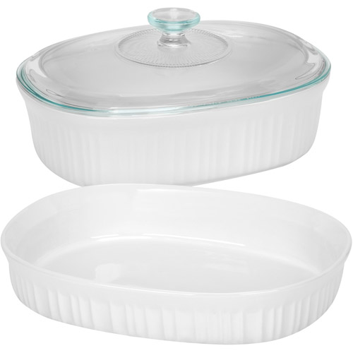 CorningWare French White 3 Piece BakeServe Set with Glass Cover