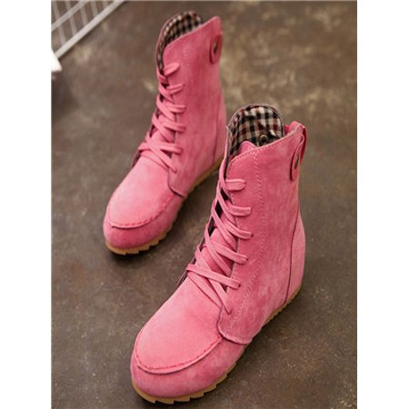 cc821349841f Women Flat Ankle Snow Motorcycle Boots Female Suede Leather Lace-Up Boot  Hot 37 - Walmart.com