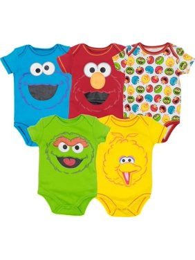 1d2c1e3c2 Product Image Sesame Street Baby Boy Girl 5 Pack Bodysuits - Elmo, Cookie  Monster, Oscar and