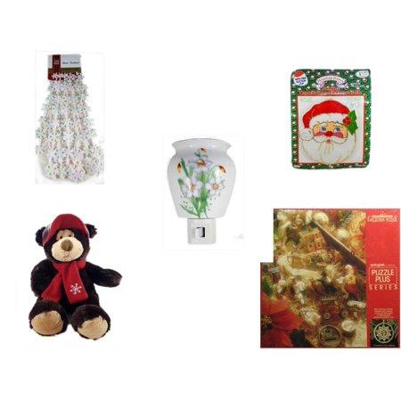 Christmas Fun Gift Bundle [5 Piece] - Brite Star Iridescent Snowflake Bead Garland 9' Feet - Jumbo  Suncatcher Santa - Flower Nightlight Lily - HugFun Super Soft & Cuddly
