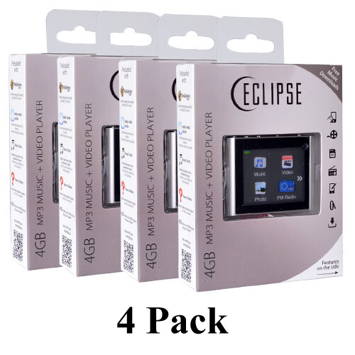 "4 Pack Eclipse T180 1.8"" 4GB MP3 Clip Style Audio LCD Video Player - Silver"