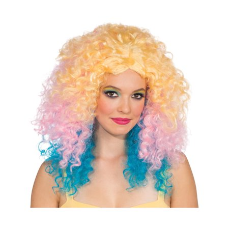 Adult Womens Pastel Punch Blonde Pink Blue Long Large Curly 80s Rave Wig - Halloween Punch Alcohol