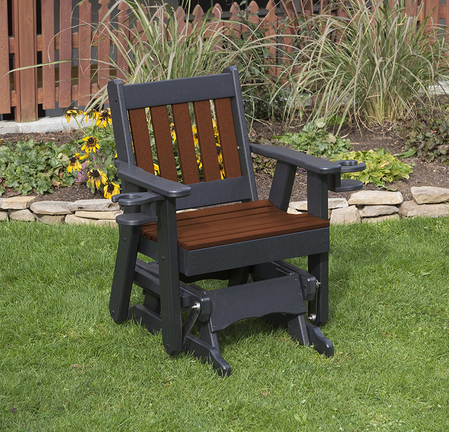 Outdoor Exterior Tudor Brown Finish 2 Ft Poly Lumber Mission Everlasting Amish Crafted Traditional Glider With Cupholder Arms