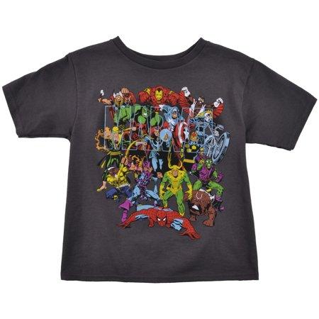 Boys Superhero (Boys Marvel Comics Superhero T-Shirt Dark Grey Ages 4-8)
