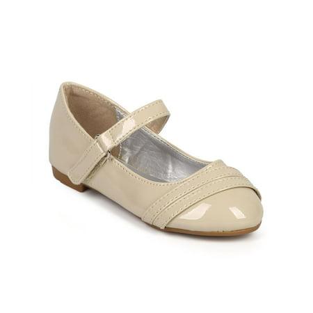 32d18e7cf6fd Link - Patent Round Toe Strappy Velcro Mary Jane ballerina Flat (Toddler  Little  Girl  Big Girl) DE97 - Walmart.com