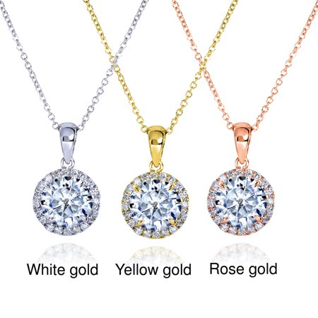 Round Moissanite and Diamond Necklace 1 5/8 CTW 14k Gold 14k Moissanite Necklace
