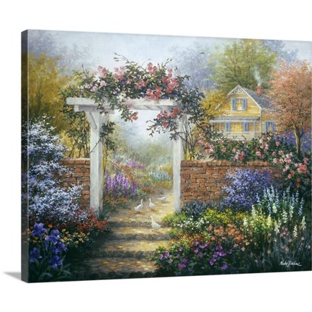 Arbor Canvas - Great BIG Canvas Nicky Boehme Premium Thick-Wrap Canvas entitled Rose Arbor