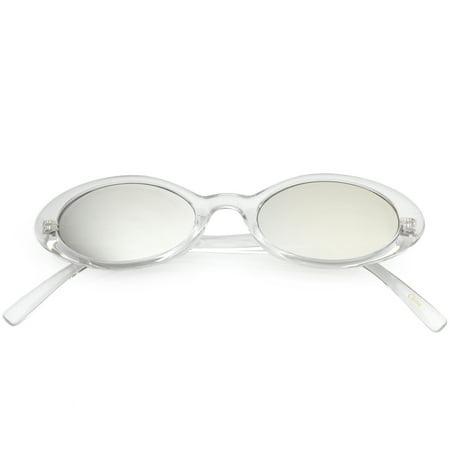 Retro Small Transparent Oval Sunglasses Colored Mirror Lens 48mm (Clear / Silver Mirror)
