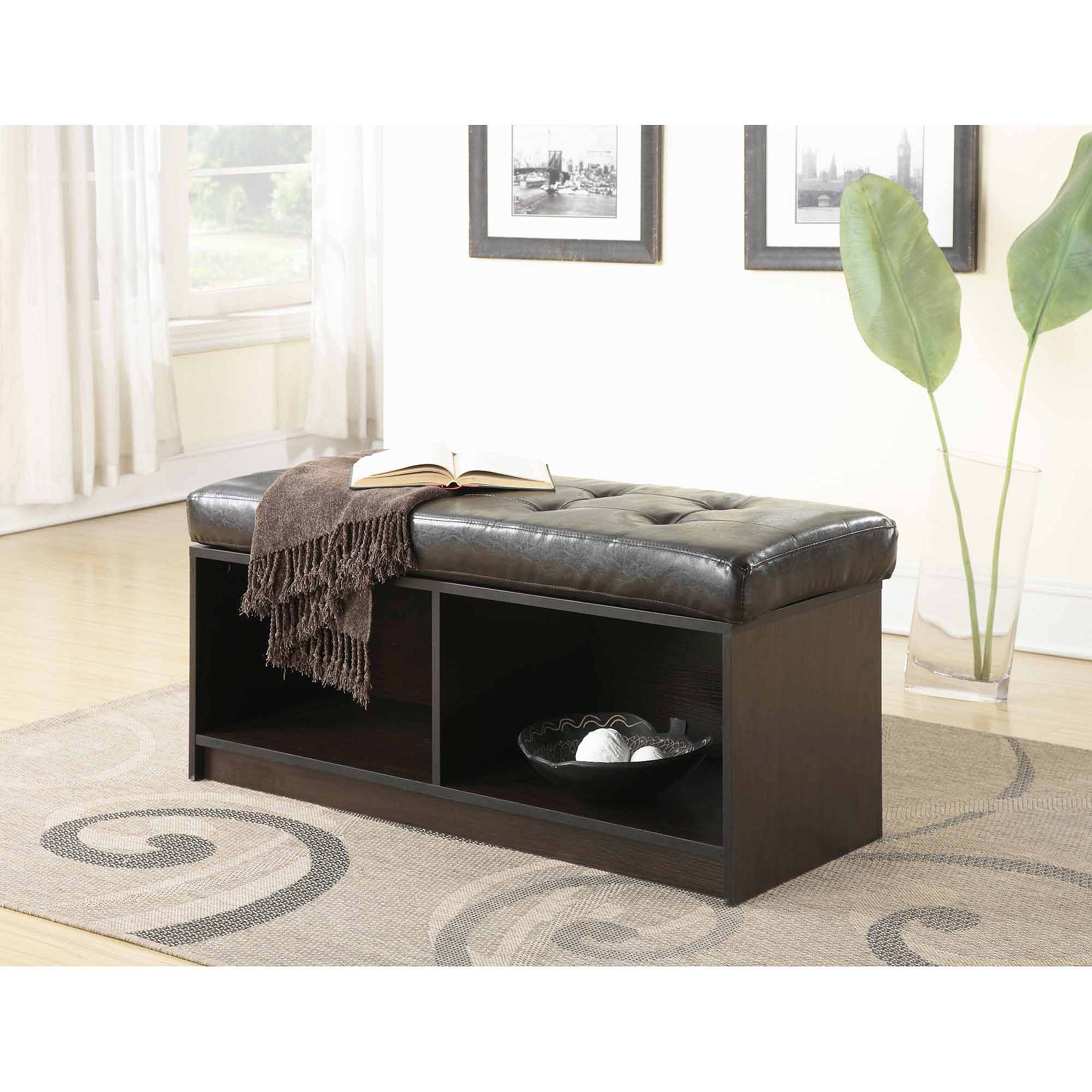 Convenience Concepts Designs4Comfort Broadmoor Entryway Faux Leather Bench Storage Ottoman, Multiple Colors