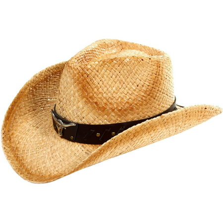 Woemn Men Cowboy Summer Cool Straw Hats Cap Distressed Straw Cowboy Hat