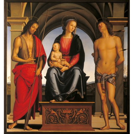 Madonna Enthroned With Child And Sts John The Baptist And Sebastian Canvas...