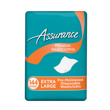 Assurance Premium XL Disposable Washcloths, 144 Count