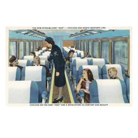 Interior View of Chicago and Northwestern Line Streamliner 400 Train Print Wall Art By Lantern Press