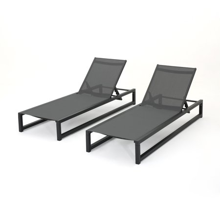 Moderna Outdoor Aluminum Framed Chaise Lounge with Grey Mesh Body, Set of 2,