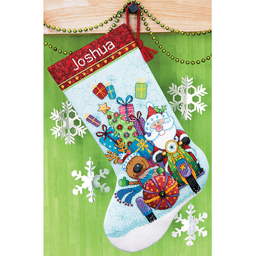 "Dimensions Santa's Sidecar Stocking Counted Cross Stitch Kit, 13"" x 20"", 14-Count"