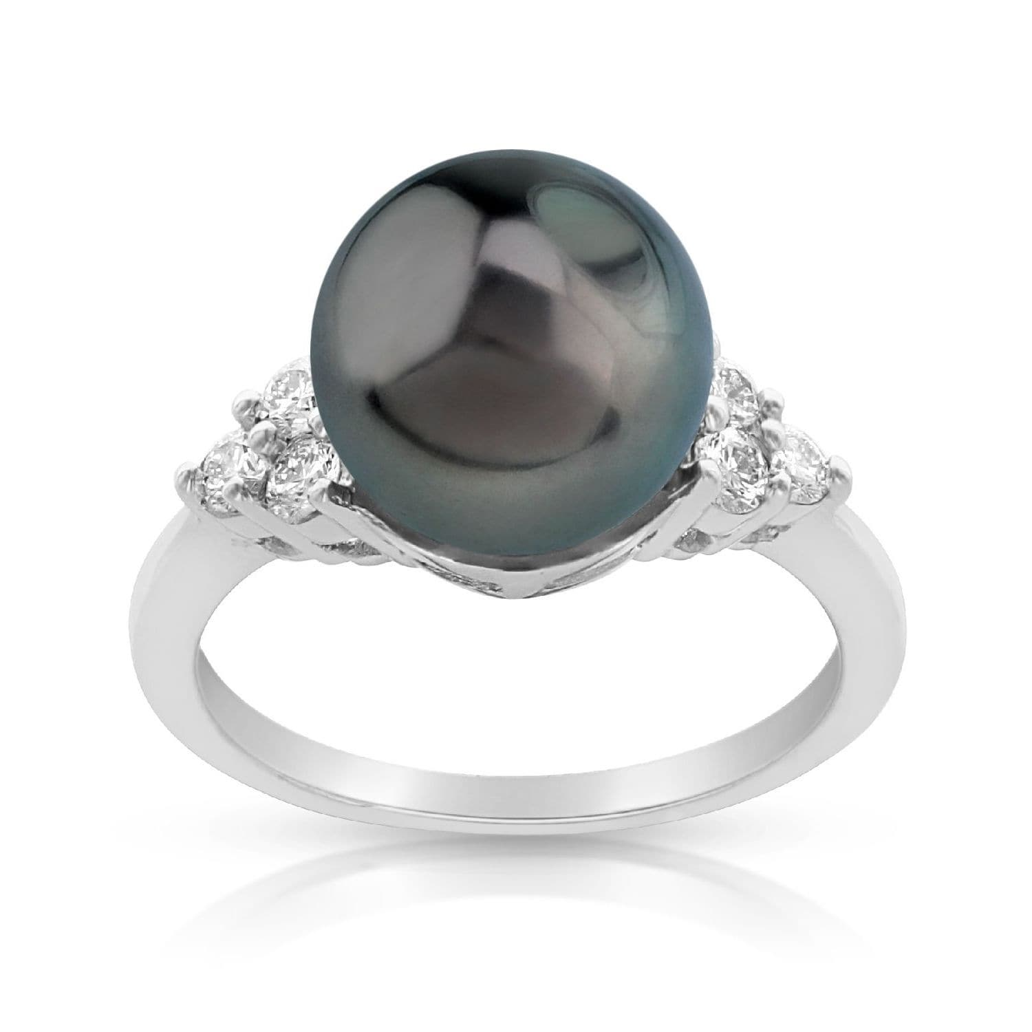 Radiance Pearl 14k Gold Tahitian South Sea Pearl and Diamond Accent Ring by Overstock