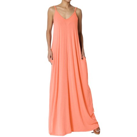 TheMogan Women's V-Neck Draped Jersey Casual Beach Cami Long Maxi Dress W Pocket (Casual Country Dresses)