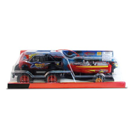 Vehicle Playset Red Monster Truck with Boat