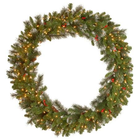 Pre-Lit Crestwood Spruce Artificial Christmas Wreath - 48 ...