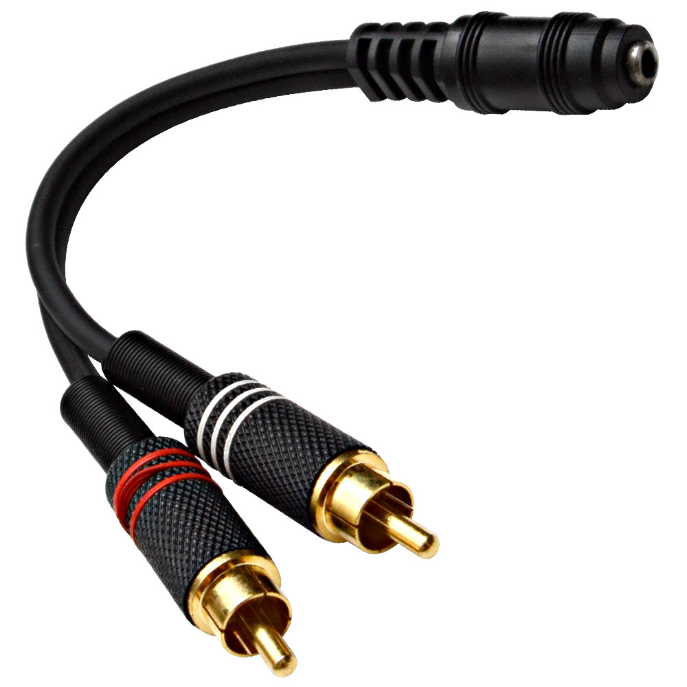 """Seismic Audio Female 1/8"""" (3.5mm) to Male RCA Patch Cable - For iPhone, iPod, Laptop, MP3, etc Black - SA-i2RM1E"""