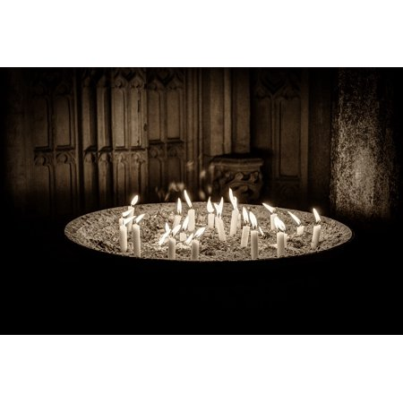 Canvas Print Cathedral Candles Church Monochrome Sepia