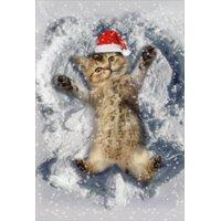 Nobleworks Kitten Snow Angel Box of 12 Cute Christmas Cards