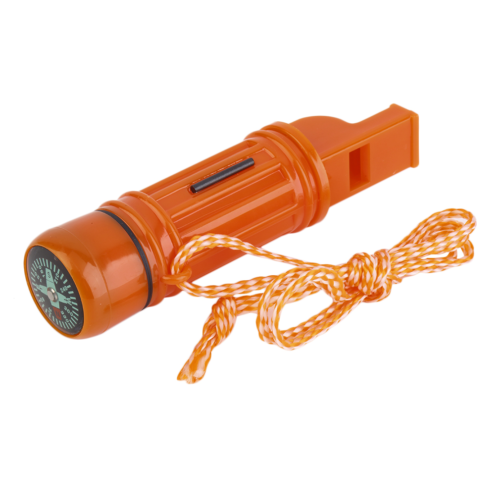 1pc 5 in 1 Multi-function Emergency Survival Compass Whistle Camping Tool Newest New Brand, orange