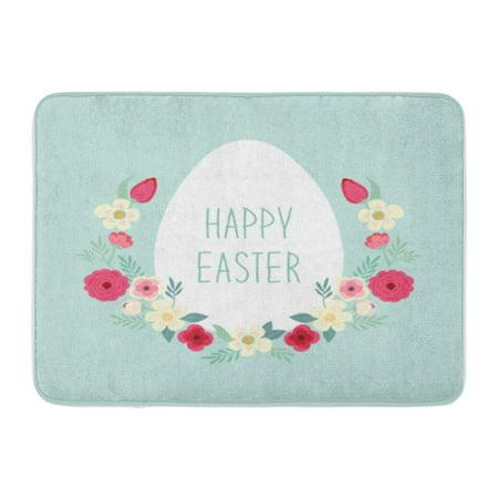 KDAGR Cute Rustic Easter Wreath of Spring Flowers and Egg Text Happy Doormat Floor Rug Bath Mat 30x18 inch ()