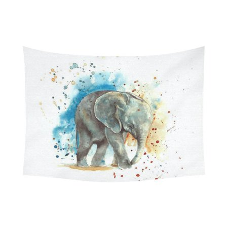 PHFZK watercolor Art Home Decor, Grey Elephant on the Blue and Orange Tapestry Wall Hanging 60 X 80 Inches