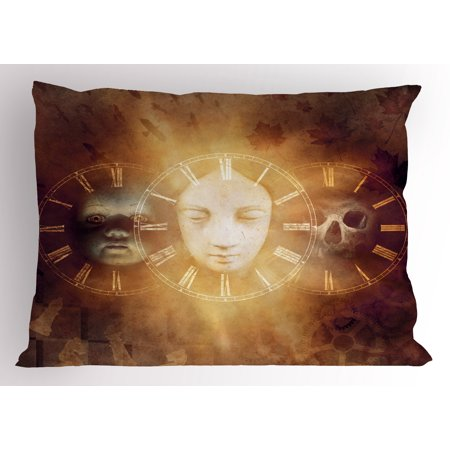 Psychedelic Pillow Sham Gothic Spooky Birth Life Death Mask and Skull Baby Face Sacred Artwork Design, Decorative Standard Size Printed Pillowcase, 26 X 20 Inches, Tan Golden, by Ambesonne](Spooky Masks)