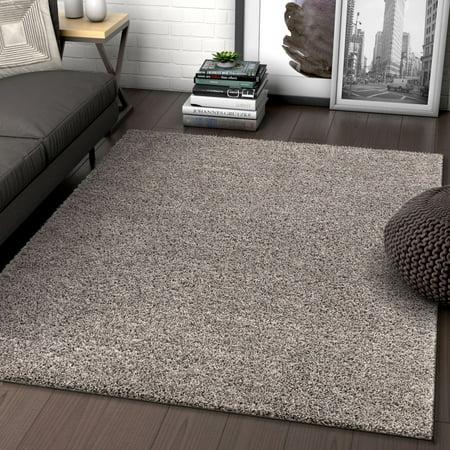 Sand 3x5 Area - Solid Retro Modern Light Grey Shag 3x5 ( 3'3'' x 5'3'' ) Area Rug Plain Plush Easy Care Thick Soft Plush Living Room Kids Bedroom