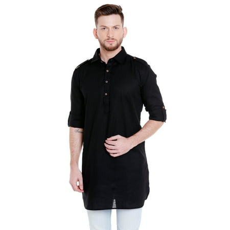 In-Sattva Men's Pullover Pathani Rollup Sleeve Kurta Tunic with Shoulder