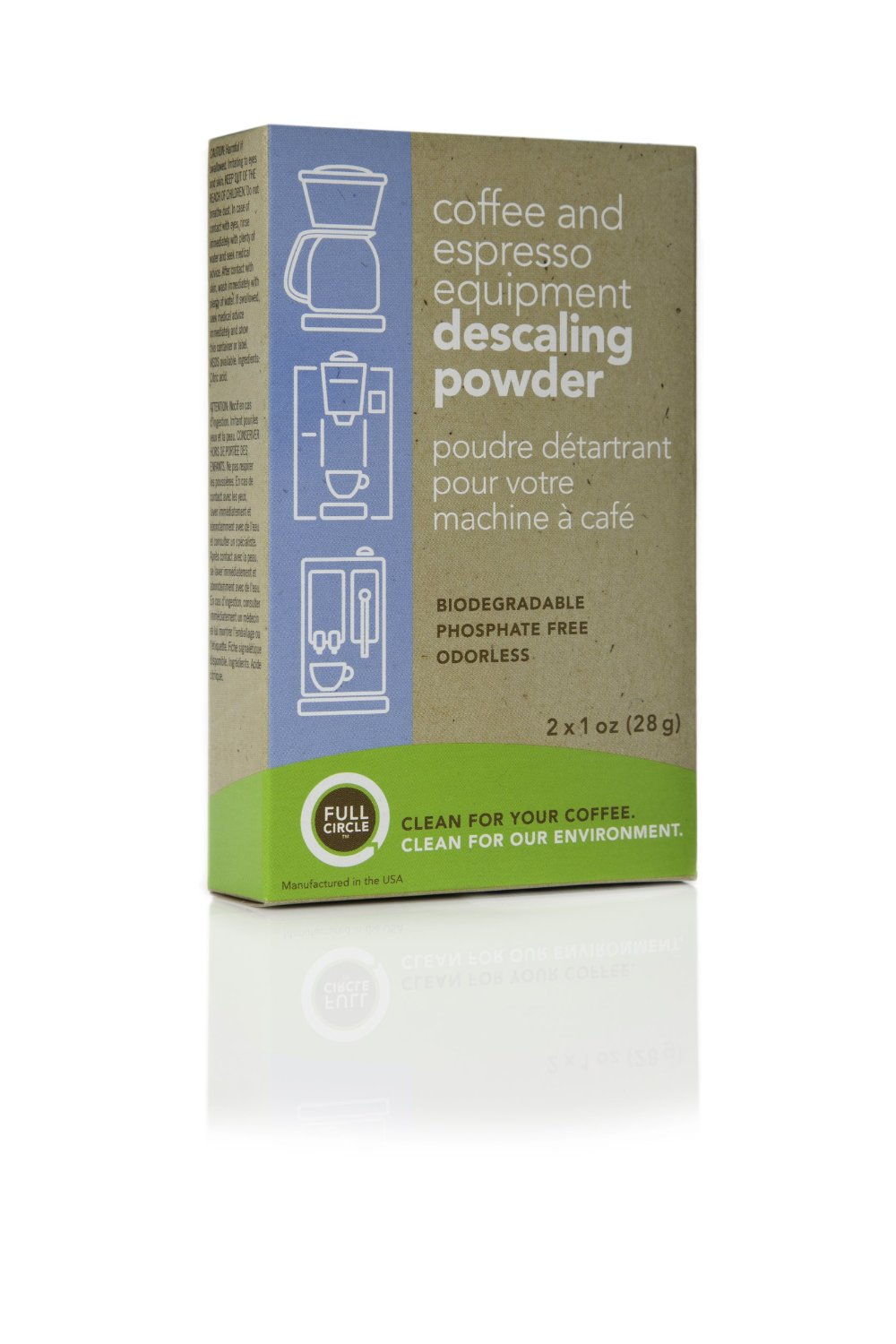 Full Circle Coffee and Espresso Machine Descaling Powder, 2 Single Use Packets by Harold Import Co.