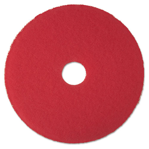 "Red Buffer Floor Pads 5100, Low-Speed, 24"", 5/Carton"