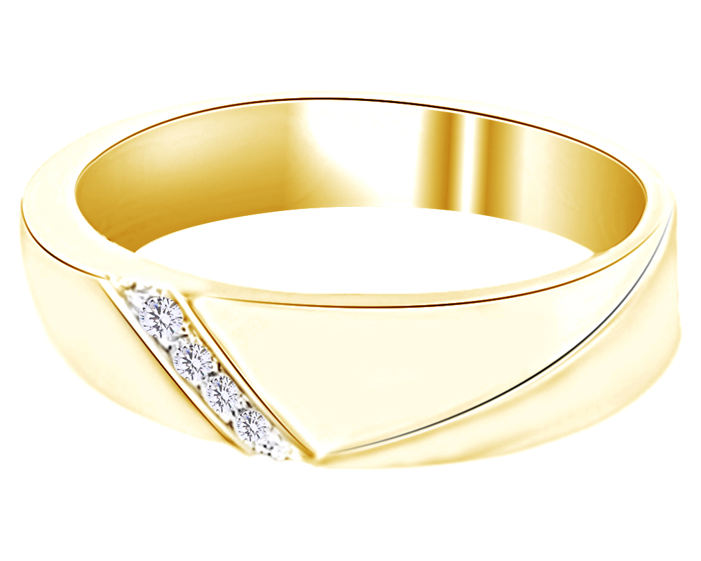 Jewel Zone US White Natural Diamond Accent Curved Wedding Band Ring in 14k Gold Over Sterling Silver 0.06 Ct
