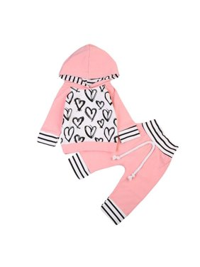 Toddler Kid Baby Girl Clothes Hooded T-shirt Tops +Long Pants Outfit Set 0-3T