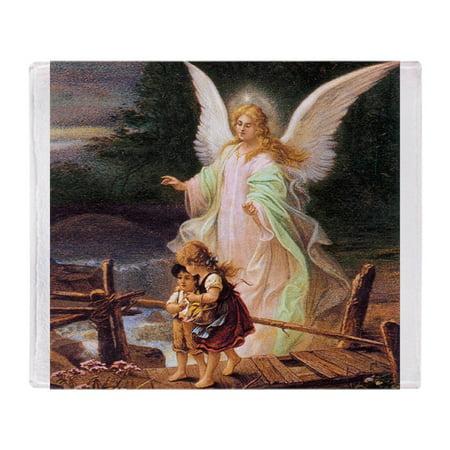 CafePress - Guardian Angel With Children On Bridge Throw Blank - Soft Fleece Throw Blanket, 50