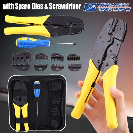 Insulated Cable Connectors Terminal Ratchet Crimping Wire Crimper Plier Tool Kit Wire Crimper Tool
