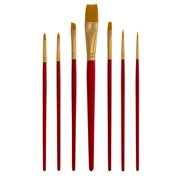 US Art Supply Golden Taklon 7pc Nylon Hair Artist Paint Brush Set Round Shader