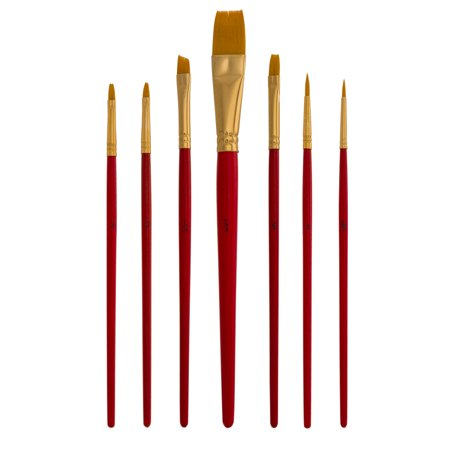 US Art Supply Golden Taklon 7pc Nylon Hair Artist Paint Brush Set Round