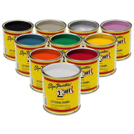 1/4 Pint 1 Shot PRIMARY Enamel Kit 10 COLOR SET Pinstriping Lettering Graphic