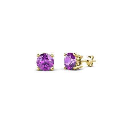 Amethyst Four Prong Solitaire Stud Earrings 0.40 cttw in 14K Yellow Gold Four Prong 14ky Gold Solitaire