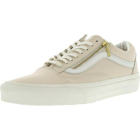18b29935fb VANS - Vans Old Skool Zip Leather Whispering Pink   Blanc De Ankle-High  Skateboarding Shoe - 9M 7.5M - Walmart.com