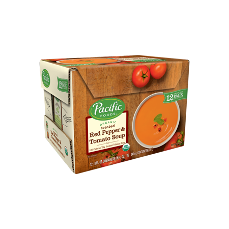 Pacific Foods Organic Creamy Roasted Red Pepper and Tomato Soup, 8 fl oz, 12 count Creamy Leek Soup