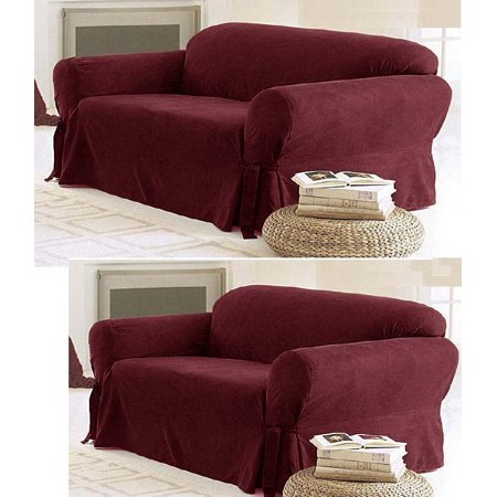 Solid Suede Couch Covers 3 Piece Burgundy Slipcover Set
